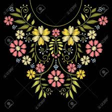 Floral Embroidery Designs Vector Neck Line Embroidery Neck Embroidery Design Ornament With Flower