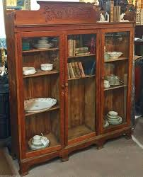 antique oak library cabinet bookshelf bookcase china cabinet w glass doors