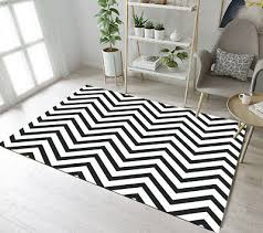 black white chevron wave floor rug mat bedroom carpet living room area rugs