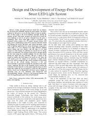 Solar Lighting System Design Pdf Design And Development Of Energy Free Solar Street Led