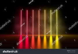 Neon Light Spectrum 3d Illustration Vertical Glowing Neon Light Stock