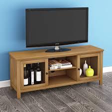 modern oak large 120cm tv unit solid wood tv stand cabinet 2 glass doors display