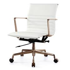 modern office chair leather. White Italian Leather + Gold M346 Modern Office Chairs Chair