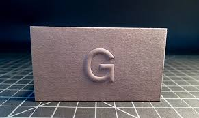 business card thick white paper high embossed logo