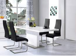 High Gloss Dining Table Mario Dining Table In White Glass Top With 6 White Dining Chairs
