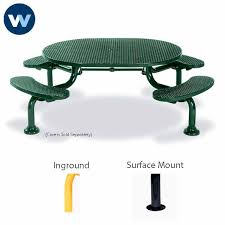der series ada accessible round table with 4 seats portable surface mount or inground loading zoom