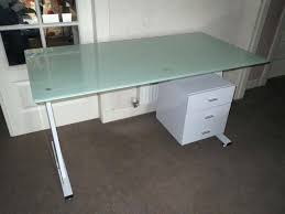 ikea glass office desk. Ikea Glass Table Top Great Desk White Metal Frame 3 Drawer Storage Cabinet Office