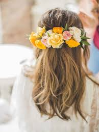 Flower Hair Style halfup wedding hairstyle ideas with curls flowers and braids 5974 by wearticles.com
