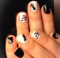 gel nail designs for fall 2014. black and white feather nail design pretty nice gel designs for fall 2014
