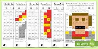 Roman Numerals 1 To 50 Chart Lks2 Roman Numerals To 100 Maths Mosaic Worksheets