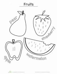 Small Picture Fruits Coloring Page Worksheets and Activities