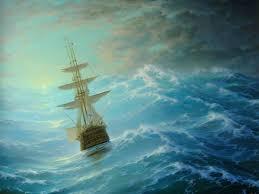 at the sea coast barque on sea