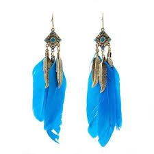 <b>Ethnic Style</b> Feather Leaves Charm Drop Rhombus Long Dangle ...