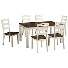 ashley furniture signature design woodanville dining room table set set of 7 dining table and 6 chairs cal cream brown finish