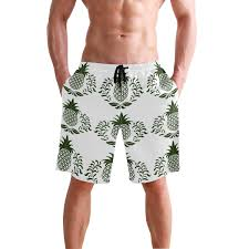 Icon Swim Size Chart Mens Medium Length Pineapple Icon Beach Shorts Casual