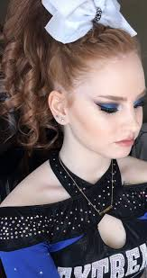 cheer hair makeup all star cheerleading worlds 2017 blue smokey eye using colourpop eyeshadows braided teased