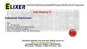 Industrial Electrician Salary Hiring Industrial Electrician Sta Maria Bulacan Salary