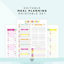 Weekly Meal Plan Worksheet Editable Meal Plan Printable Printable Crush