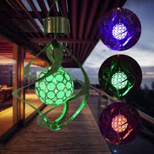 Rotating Color Light Tinffy Waterproof Auto Solar Led Wind Chimes Changing Color Light Rotating Crystal Ball Light Garden Outdoor Hanging Lamp