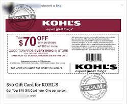 kohl s 70 gift card facebook scam post