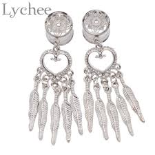 Dream Catcher Tunnels Lychee Gothic Punk Stainless Steel Dream Catcher Dangle Screw Ear 76