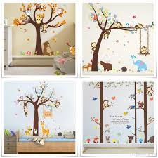 cartoon monkey owl forest wall sticker murals diy vinyl large woodland wall art decals for kids room and nursery decoration wall decals home wall decals