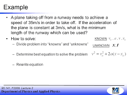 department of physics and applied physics 95 141 f2009 lecture 2 example a plane taking