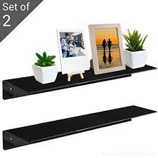 17 inch wall mounted black acrylic floating shelf display organizer rack set of 2 black mygift b01lx8tfb4