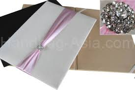 Wedding Invitation Folder Silk Pocket Folio With Crystal Brooch Embellishment For Wedding Invitations