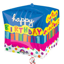 Cubez Happy Birthday Cake Balloon delivered inflated in UK