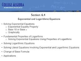 section 6 4 exponential and logarithmic equations