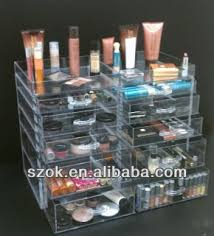 clear large acrylic storage organizer makeup & cosmetic case with drawer