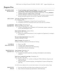 Event Coordinator Resume Present Representation Manager Summary
