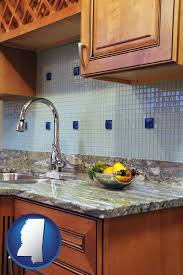 a granite countertop with mississippi icon