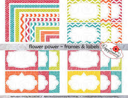 Small Picture Flower Power Frames Labels Clip Art Pack Card Making Digital