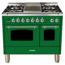 double oven dual fuel italian range true convection 5 burners lp gas chrome trim emerald green