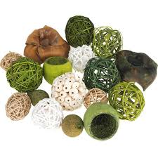 Decorative Balls For Bowl Decorative Wicker Balls Bowl Filler Assorted Green 60Piece 45