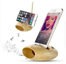 eco friendly wood phone holder stand bamboo mobile cellphone bracket nature sound amplifier phone charger