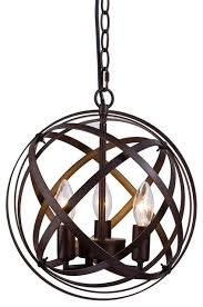 3 lights candle style chandeliers metal cage globe sphere pendant light ceiling