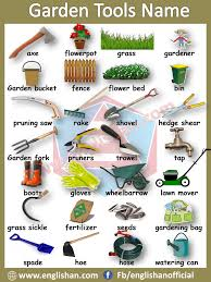 garden tools voary with images and