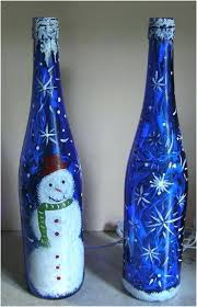 painted bottles with lights inside lighted are very popular any type and blue glass wine uk