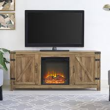 new 58 inch wide barn door fireplace tv stand barnwood color