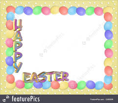easter stationery illustration of easter border eggs 3d text