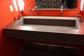 ada bathroom sink. Free Hanging ADA Compliant Concrete Trough Bathroom Sink, Dark Grey GFRC Mix. 5\u201d Drop Down Reveal On Finished Sides. Ada Sink