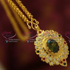 cs1875 pendant chain south indian traditional jewellery american diamond gold plated handwork