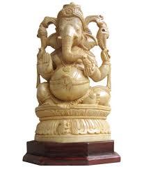 vtl white wooden sree ganesh statue