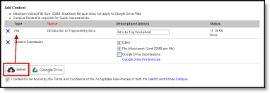 google max attachment size enable student submission in assignments infinite campus