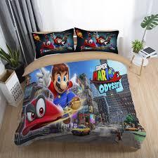 details about 3d super mario odyssey city duvet cover kids bedding set quilt cover pillowcases
