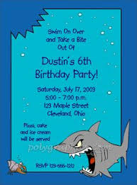 shark invitations party invitations shark shark  details for shark full color prices and order form