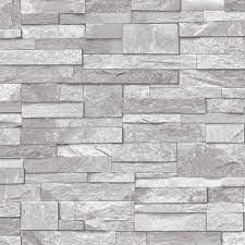 Grandeco Stone Brick Effect Light Grey ...